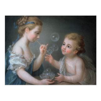 Children blowing bubbles postcard