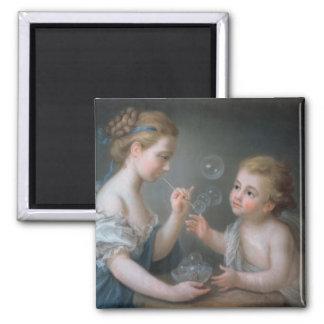 Children blowing bubbles square magnet