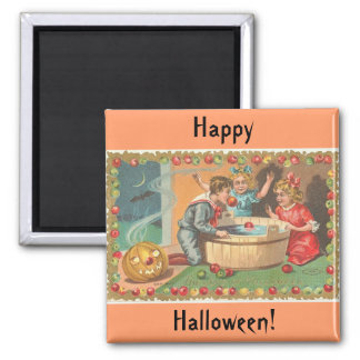 children bobbing apples, apple border square magnet