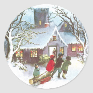 Children Bring Home Yule Log Vintage Christmas Classic Round Sticker