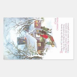 Children Bring Home Yule Log Vintage Christmas Sticker
