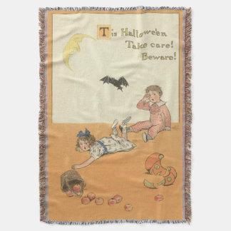 Children Broken Jack O' Lantern Bat Apple Throw Blanket
