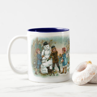 Children Build a Snowman in Winter Vintage Drawing Two-Tone Coffee Mug