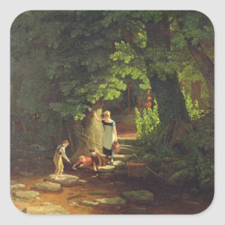 Children by a Brook, c.1822 (oil on panel) Square Sticker