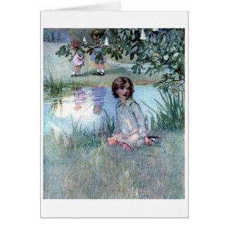 Children by a Pond, Card