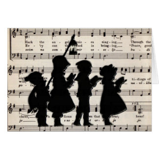 Children Carolers With Christmas Music Card