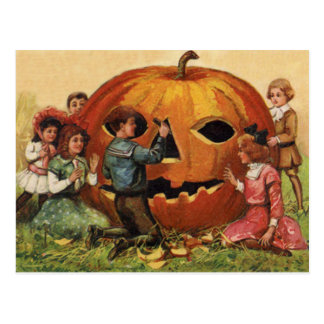 Children Carving Jack O Lantern Pumpkin Postcard
