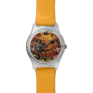 Children Carving Jack O Lantern Pumpkin Wristwatch
