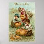 Children Carving Pumpkins Turkey Haystack Corn Poster