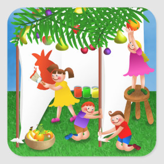 Children Celebrating the Jewish Feast of Sukkot Square Sticker