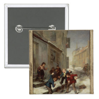 Children Chasing a Rat 2 Inch Square Button