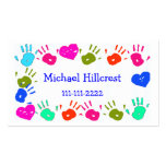 Children Colourful Hand Prints Calling Card Business Card Templates