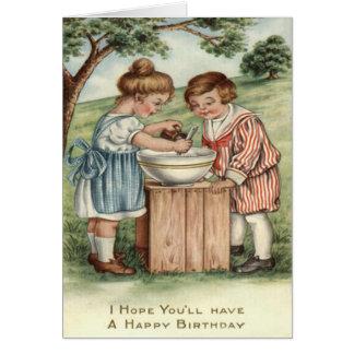 Children Cooking Baking Outdoors Card