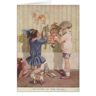 Children Creating Wall Shadows, Card