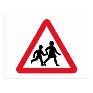 Children Crossing, Traffic Sign, UK Postcard