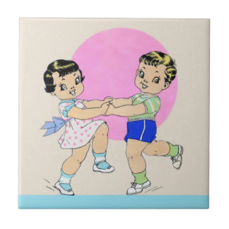 Children Dancing - Art Deco illustration Tile