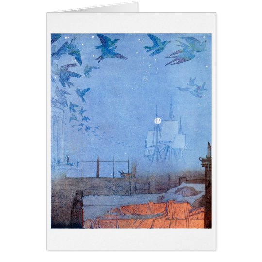 Children dreaming of birds and sails card