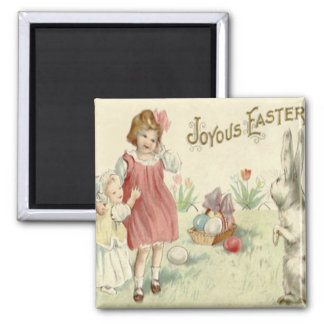 Children Easter Bunny Basket Colored Eggs Square Magnet