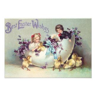 Children Easter Chick Egg Violets Photograph