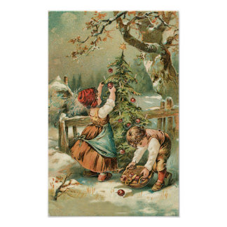 Children Gather Christmas Apples Poster