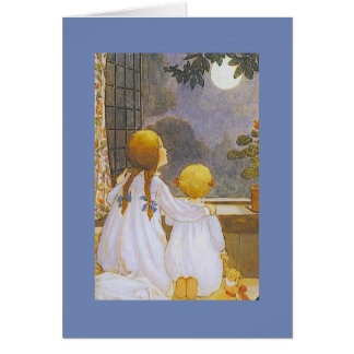 Children Gazing at the Moon - Card