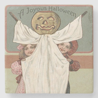 Children Ghost Jack O' Lantern Pumpkin Stone Beverage Coaster