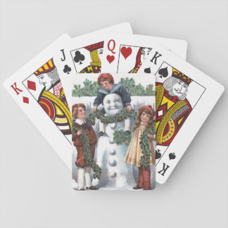 Children Hanging Holly Garland Snowman Playing Cards