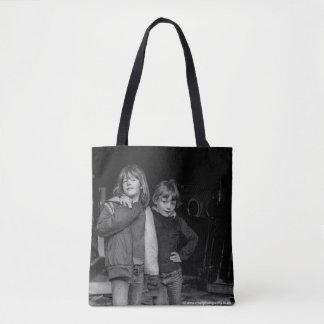 Children in Derelict Laundry Art Photograph on Bag
