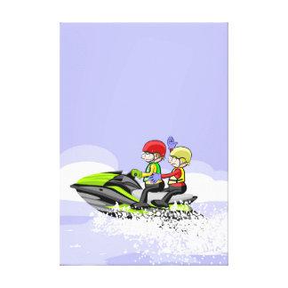 Children in its jet ski breaking waves canvas print