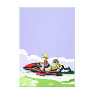 Children in its jet ski doing acrobatics in the canvas print