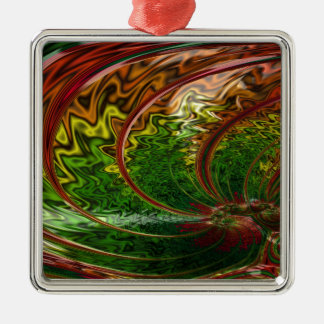 Children in the Rings Fractal Metal Ornament