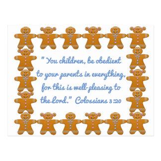 Children Obedient to Parents Scripture~Gingerbread Postcard