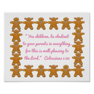 Children Obedient to Parents Scripture~Gingerbread Poster