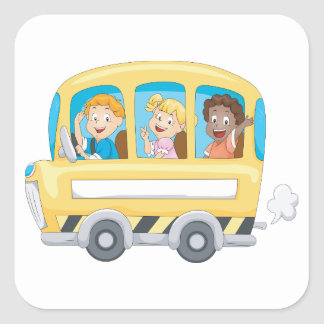 Children On A School Bus Stickers