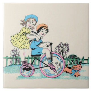 Children on Bicycle - Art Deco illustration tile