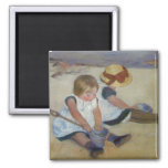 Children on The Beach, Mary Cassatt Square Magnet