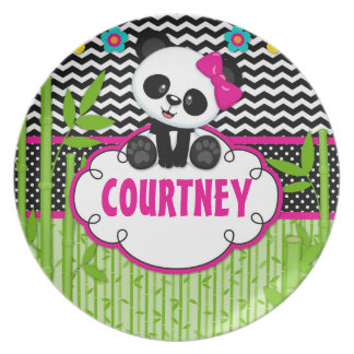Children Panda Bear Monogram Personalized Name Plate