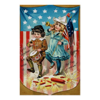 Children Parade American Flag Vintage 4th of July Poster