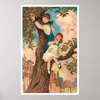 Children Picking Apples Art Print Poster