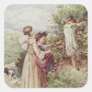 Children picking blackberries, 19th century square sticker