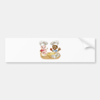 Children Playing at Cooking Bumper Sticker