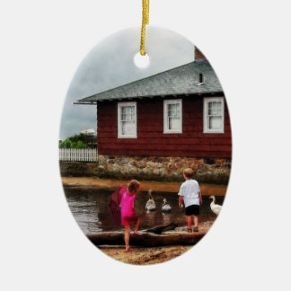 Children Playing by Harbor Essex CT Ceramic Ornament
