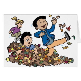 Children Playing In Leaves Card