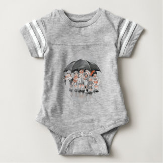 Children Playing in the Rain Holding Umbrellas Baby Bodysuit