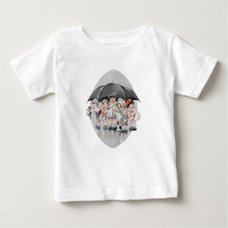 Children Playing in the Rain Holding Umbrellas Baby T-Shirt