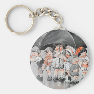 Children Playing in the Rain Holding Umbrellas Basic Round Button Keychain