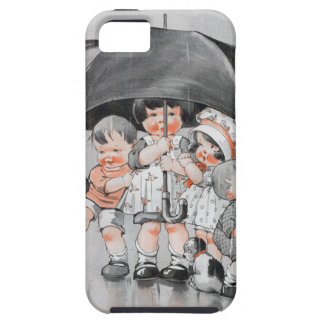 Children Playing in the Rain Holding Umbrellas Case For The iPhone 5