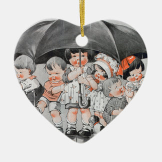Children Playing in the Rain Holding Umbrellas Ceramic Heart Ornament
