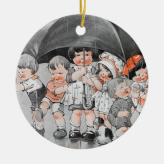 Children Playing in the Rain Holding Umbrellas Ceramic Ornament