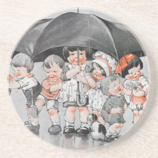 Children Playing in the Rain Holding Umbrellas Coaster
